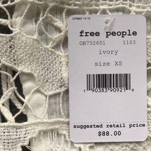 Free People Tops - Free People Ivory Crotchet Tie Back Top